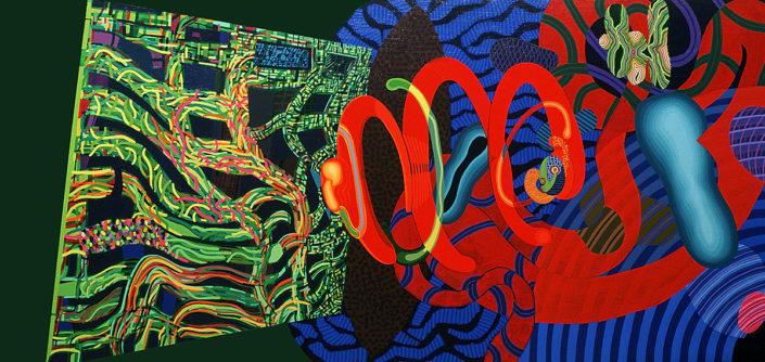 Algunos sueños de un sabio aficionado-2003 acrílico s-tela 60x130 cm