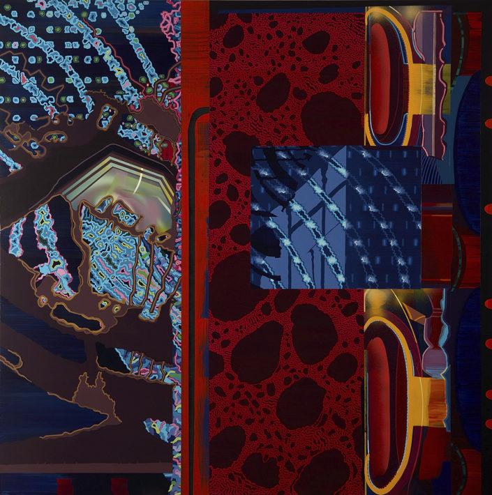 En las entrañas de un mundo perdido - 2007 acrilico s-tela 175x175 cm.